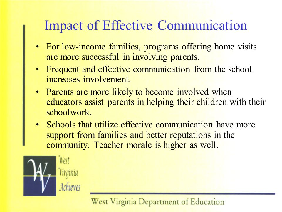 Impact of Effective Communication For low-income families, programs offering home visits are more successful in involving parents. Frequent and effect