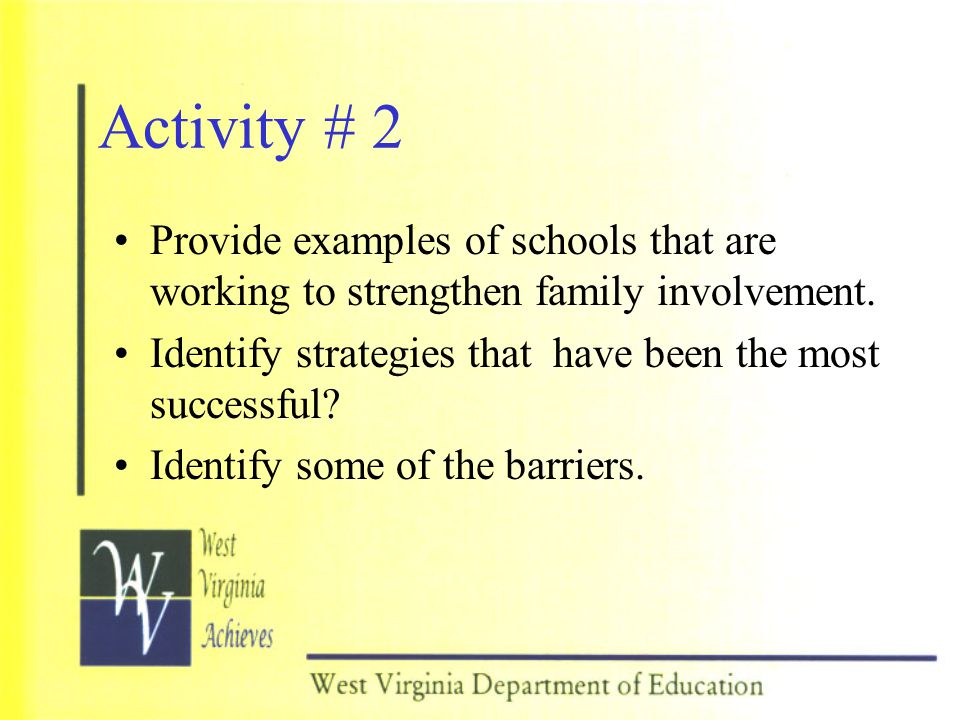 Activity # 2 Provide examples of schools that are working to strengthen family involvement.