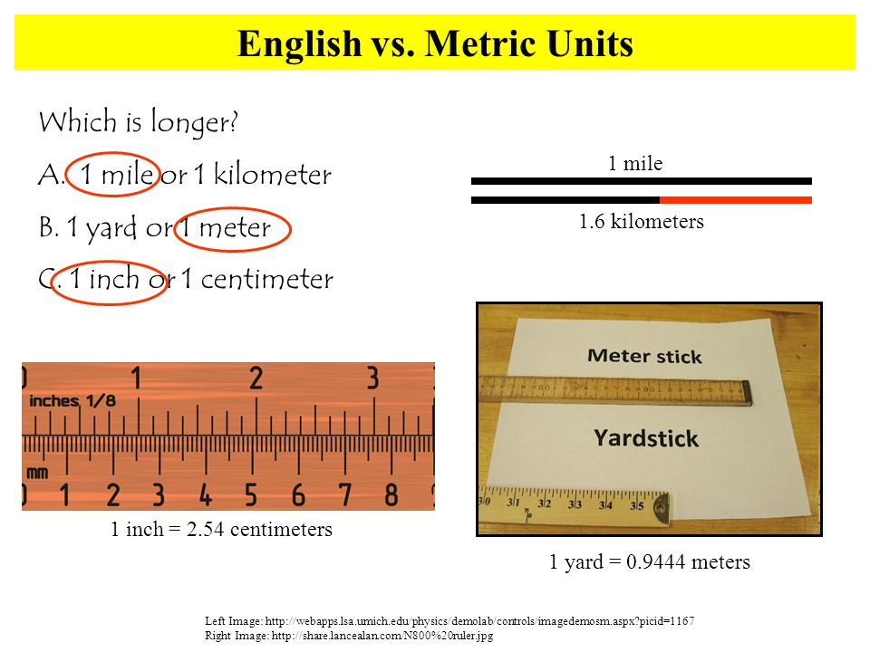 English vs. Metric Units Left Image: http://webapps.lsa.umich.edu/physics/demolab/controls/imagedemosm.aspx?picid=1167 Right Image: http://share.lance