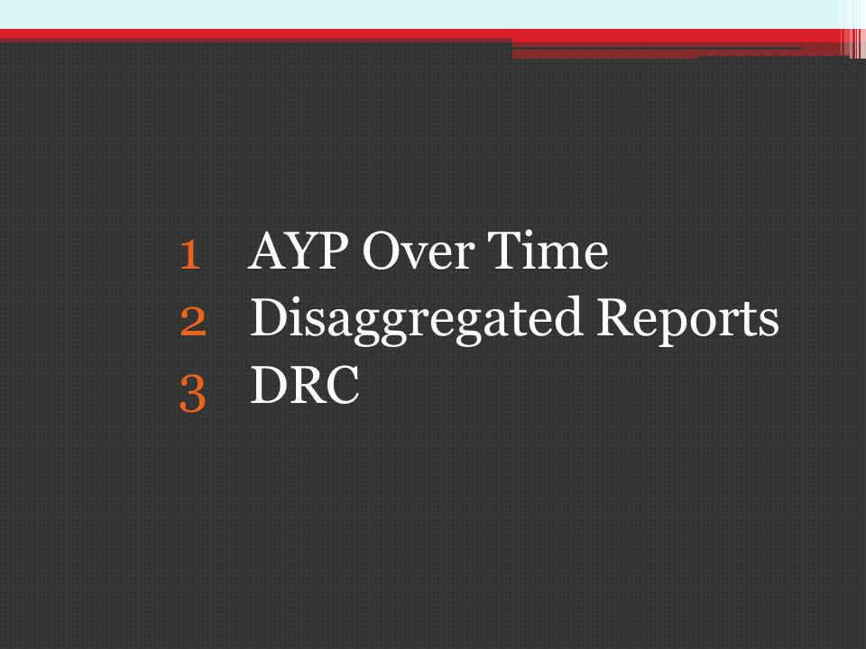 1AYP Over Time 2Disaggregated Reports 3DRC
