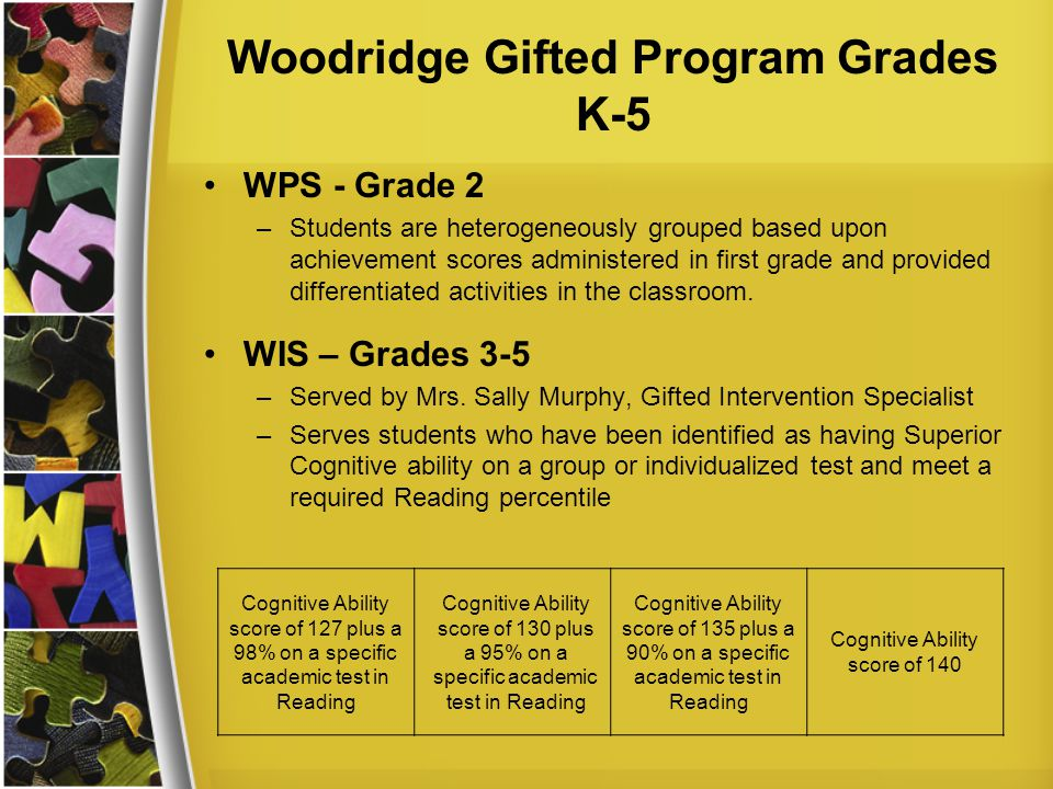 Woodridge Gifted Program Grades K-5 WPS - Grade 2 –Students are heterogeneously grouped based upon achievement scores administered in first grade and provided differentiated activities in the classroom.
