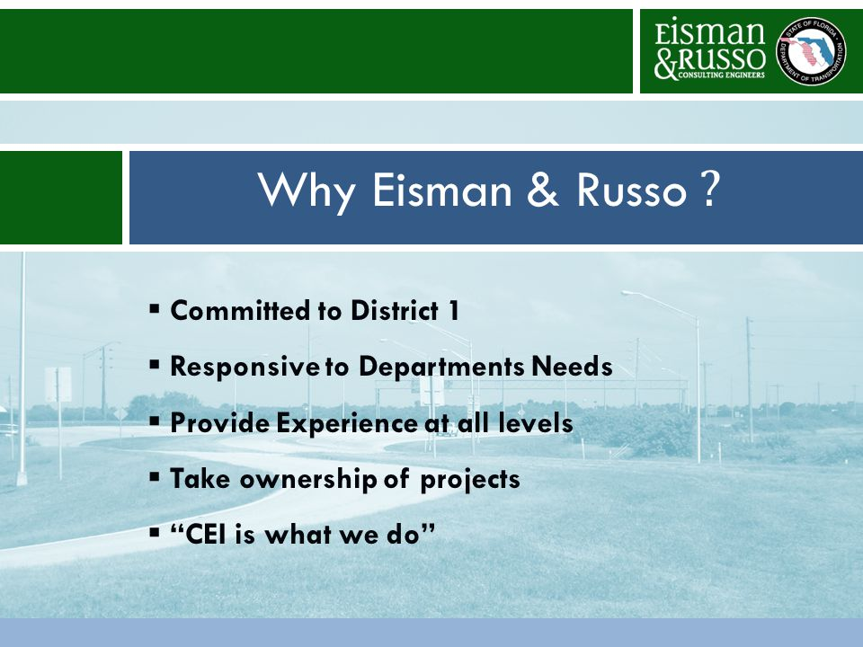 Other ConsiderationsProposed Staffing Why Eisman & Russo .