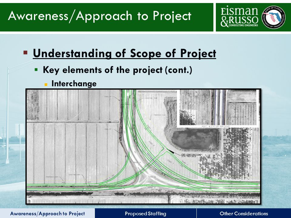 Other ConsiderationsProposed Staffing  Understanding of Scope of Project  Key elements of the project (cont.) Interchange Awareness/Approach to Project