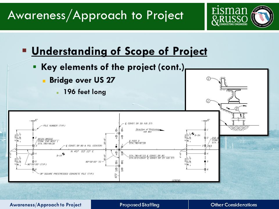 Other ConsiderationsProposed Staffing  Understanding of Scope of Project  Key elements of the project (cont.) Bridge over US 27 196 feet long Awareness/Approach to Project
