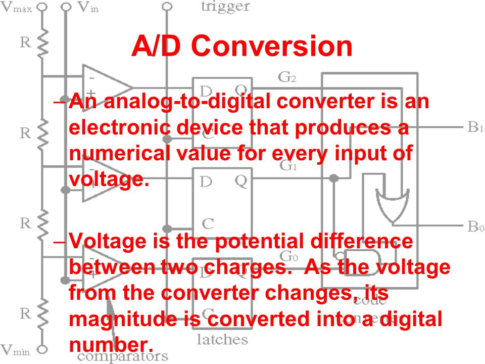 A/D Conversion –An analog-to-digital converter is an electronic device that produces a numerical value for every input of voltage. –Voltage is the pot
