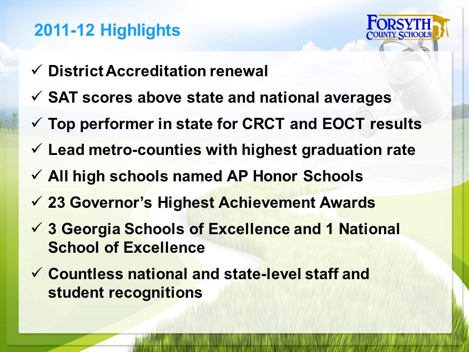 District Accreditation renewal SAT scores above state and national averages Top performer in state for CRCT and EOCT results Lead metro-counties with highest graduation rate All high schools named AP Honor Schools 23 Governor's Highest Achievement Awards 3 Georgia Schools of Excellence and 1 National School of Excellence Countless national and state-level staff and student recognitions 2011-12 Highlights