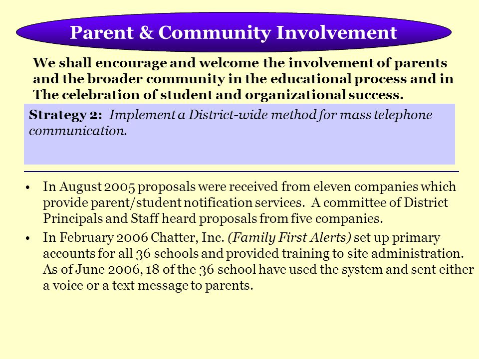 Meeting the Needs of the Whole Child In August 2005 proposals were received from eleven companies which provide parent/student notification services.