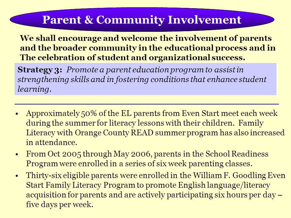 Meeting the Needs of the Whole Child Approximately 50% of the EL parents from Even Start meet each week during the summer for literacy lessons with their children.