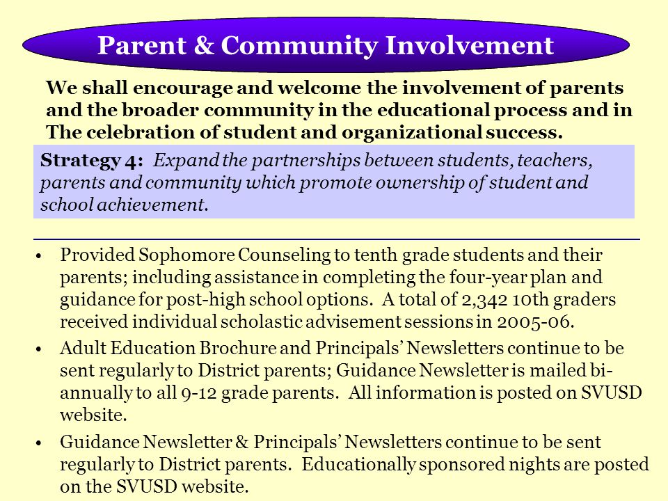 Meeting the Needs of the Whole Child Provided Sophomore Counseling to tenth grade students and their parents; including assistance in completing the four-year plan and guidance for post-high school options.