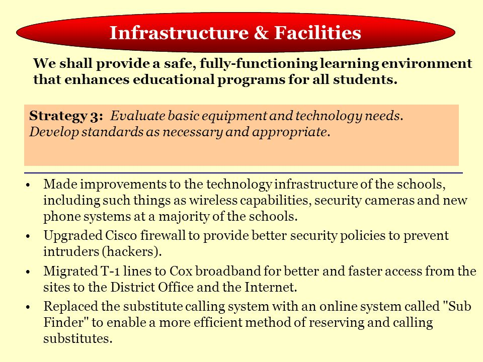 Meeting the Needs of the Whole Child Made improvements to the technology infrastructure of the schools, including such things as wireless capabilities