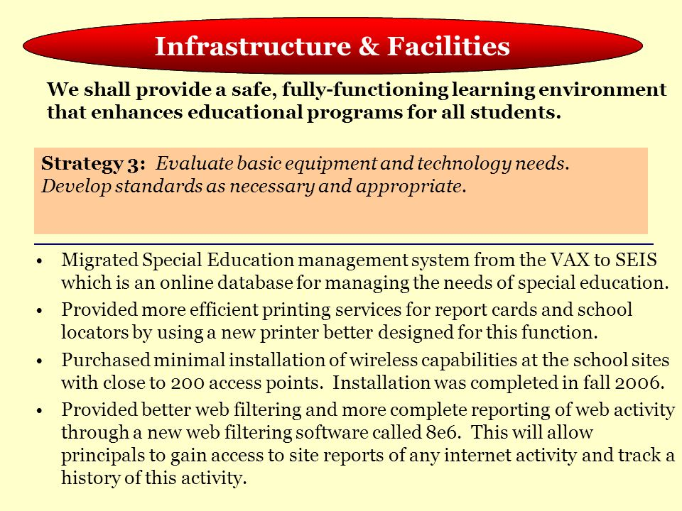 Meeting the Needs of the Whole Child Migrated Special Education management system from the VAX to SEIS which is an online database for managing the ne