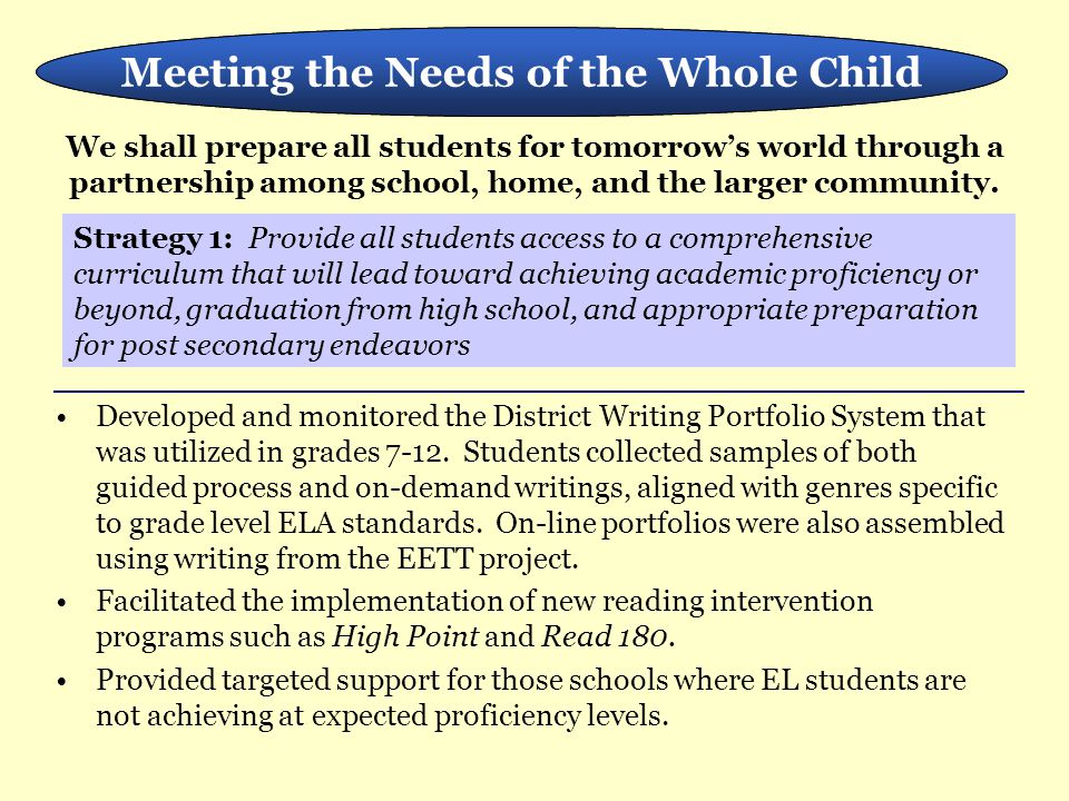 Developed and monitored the District Writing Portfolio System that was utilized in grades 7-12. Students collected samples of both guided process and