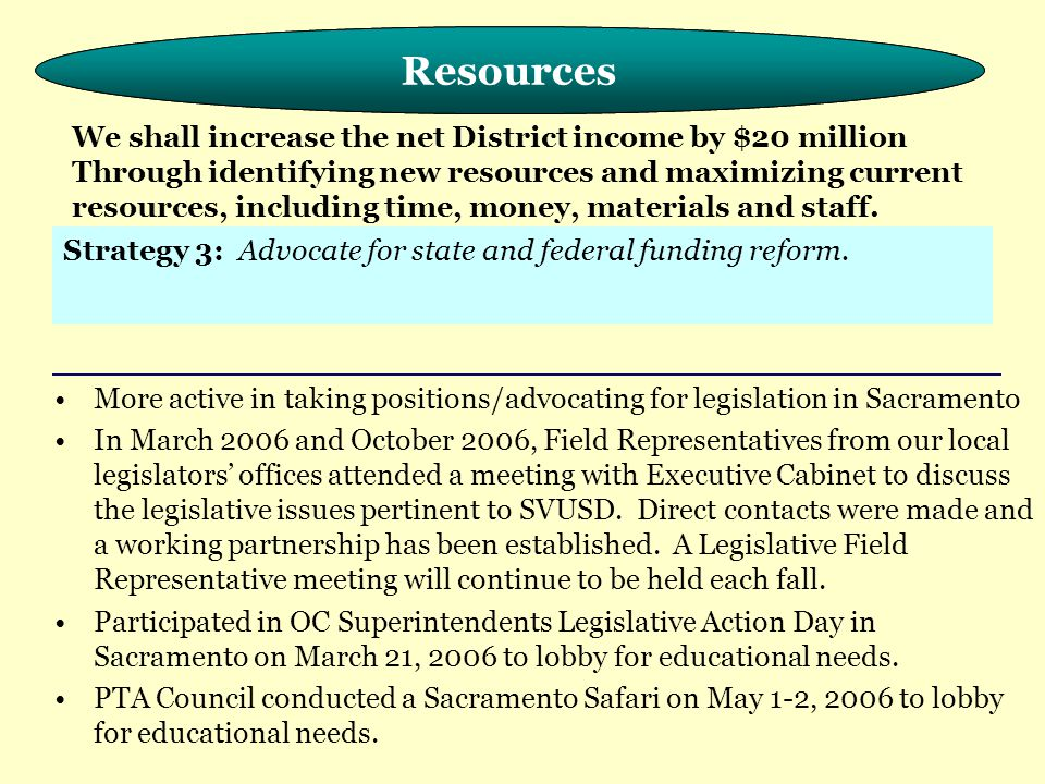 Meeting the Needs of the Whole Child More active in taking positions/advocating for legislation in Sacramento In March 2006 and October 2006, Field Representatives from our local legislators' offices attended a meeting with Executive Cabinet to discuss the legislative issues pertinent to SVUSD.