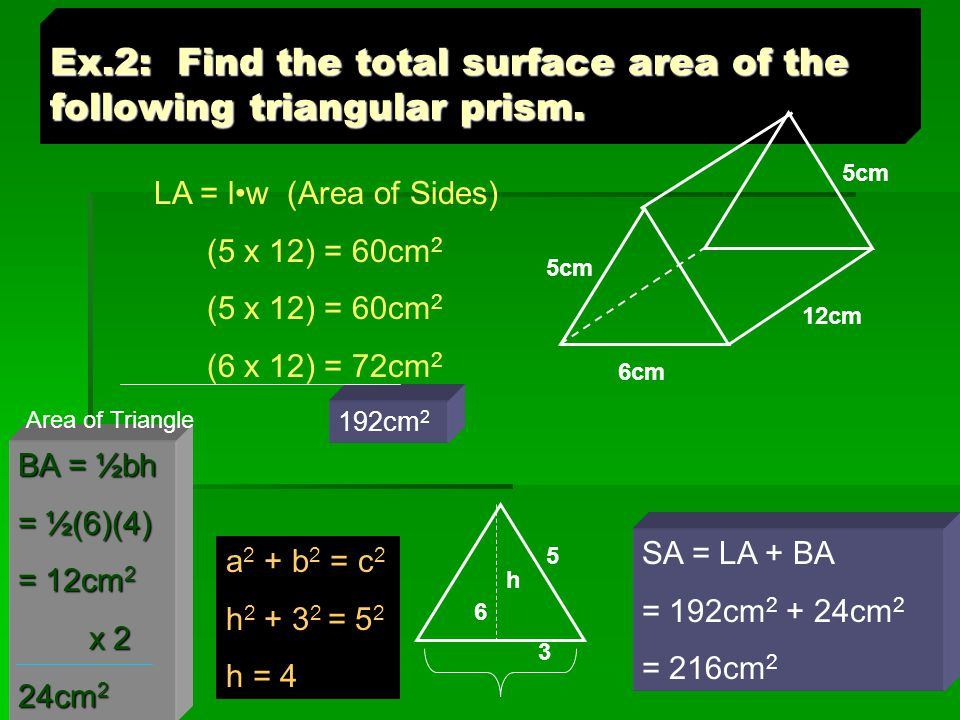 Ex.2: Find the total surface area of the following triangular prism.