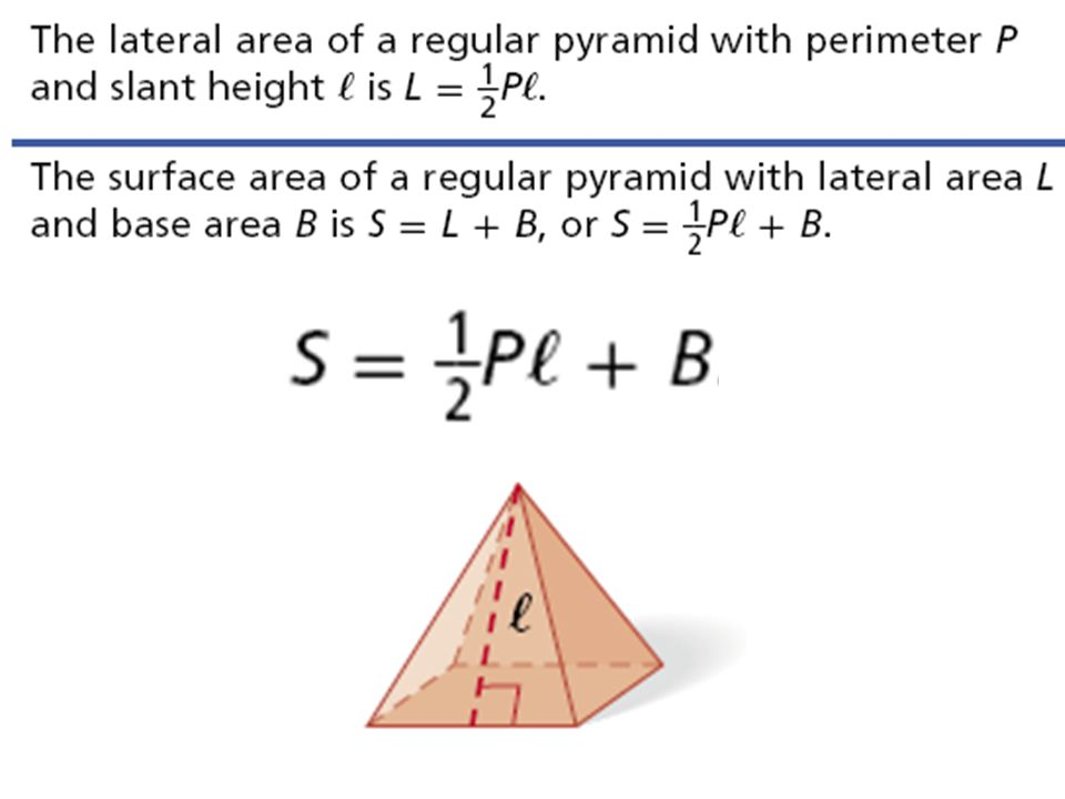 Example 1 Find the surface area of the regular pyramid.