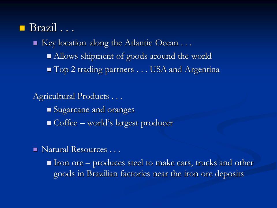 Brazil...Brazil... Key location along the Atlantic Ocean...