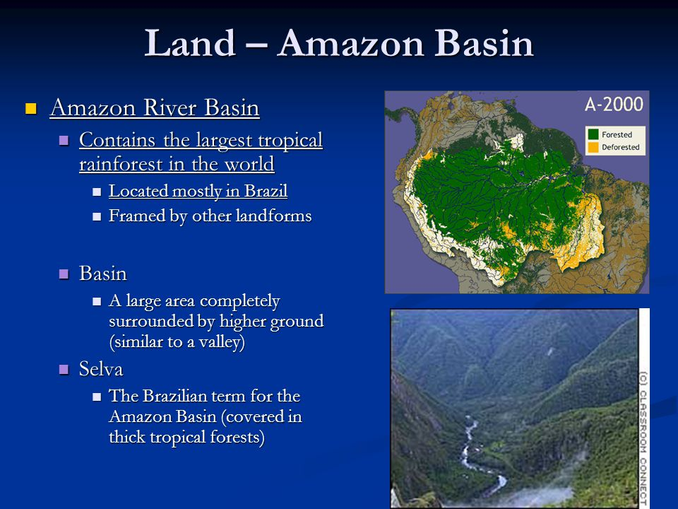 Land – Amazon Basin Amazon River Basin Amazon River Basin Contains the largest tropical rainforest in the world Contains the largest tropical rainforest in the world Located mostly in Brazil Located mostly in Brazil Framed by other landforms Framed by other landforms Basin Basin A large area completely surrounded by higher ground (similar to a valley) A large area completely surrounded by higher ground (similar to a valley) Selva Selva The Brazilian term for the Amazon Basin (covered in thick tropical forests) The Brazilian term for the Amazon Basin (covered in thick tropical forests)