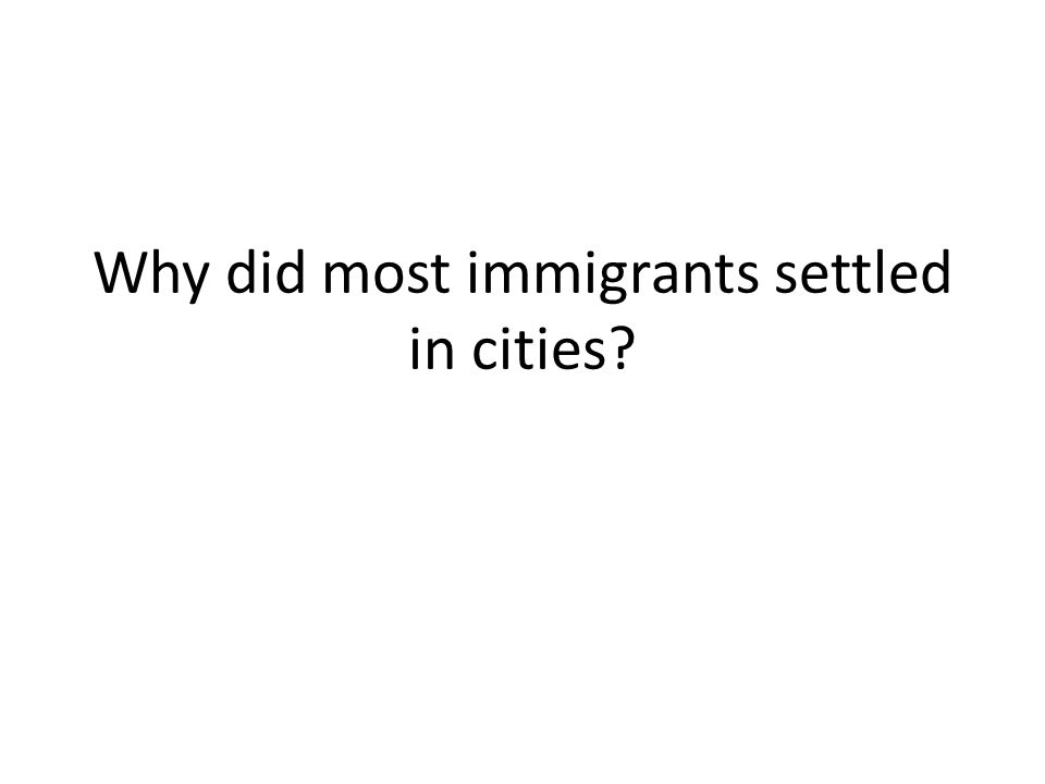 Why did most immigrants settled in cities?