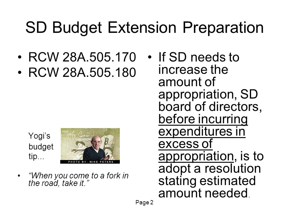 Page 13 1 st Class SD Budget Extension Filing with OSPI WAC 392-123-071 (continued) Any appropriation resolution adopted after the current appropriation level has been exceeded shall be null and void to the extent that the current appropriation level has been exceeded.