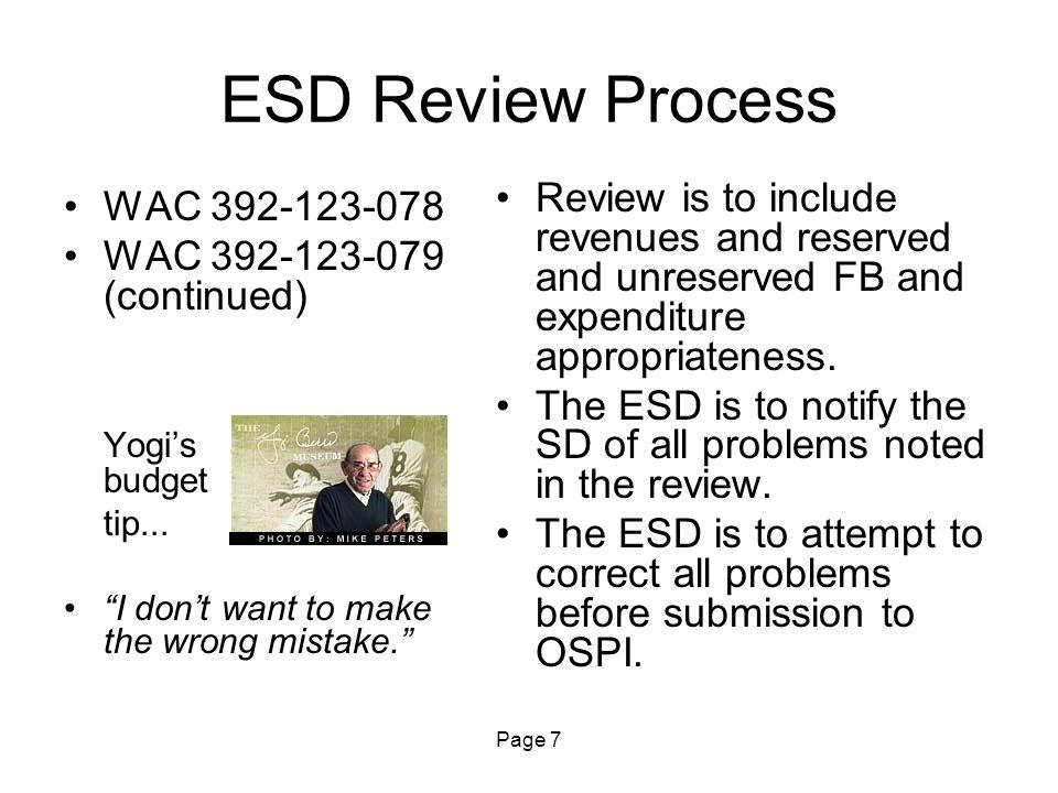 Page 8 Budgeting Receivables RCW 28A.505.110 Yogi's budget tip...