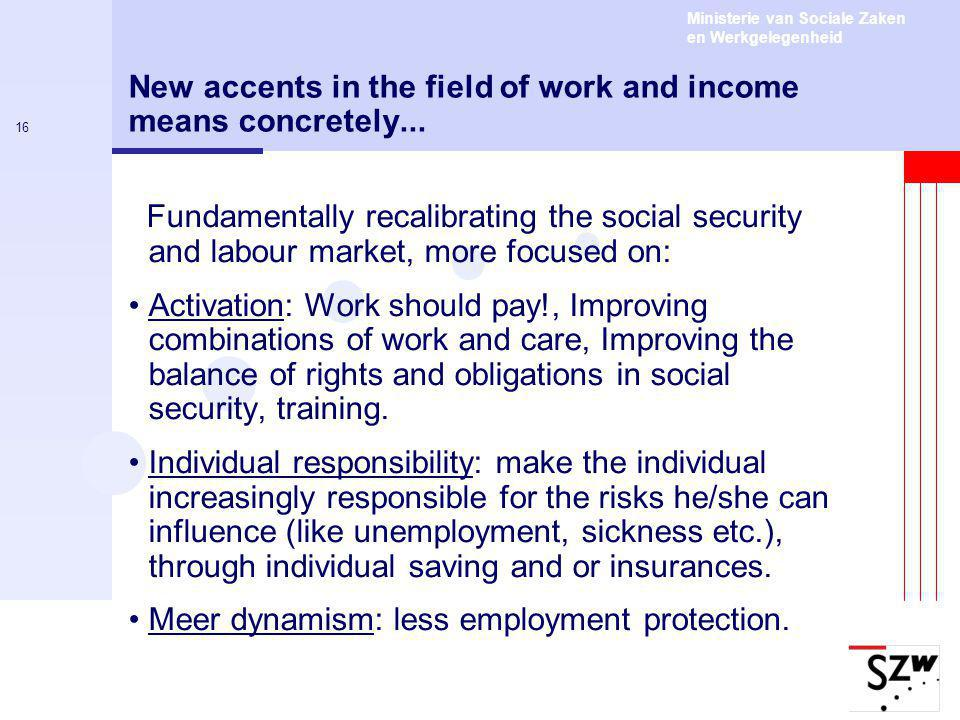 Ministerie van Sociale Zaken en Werkgelegenheid 16 New accents in the field of work and income means concretely...