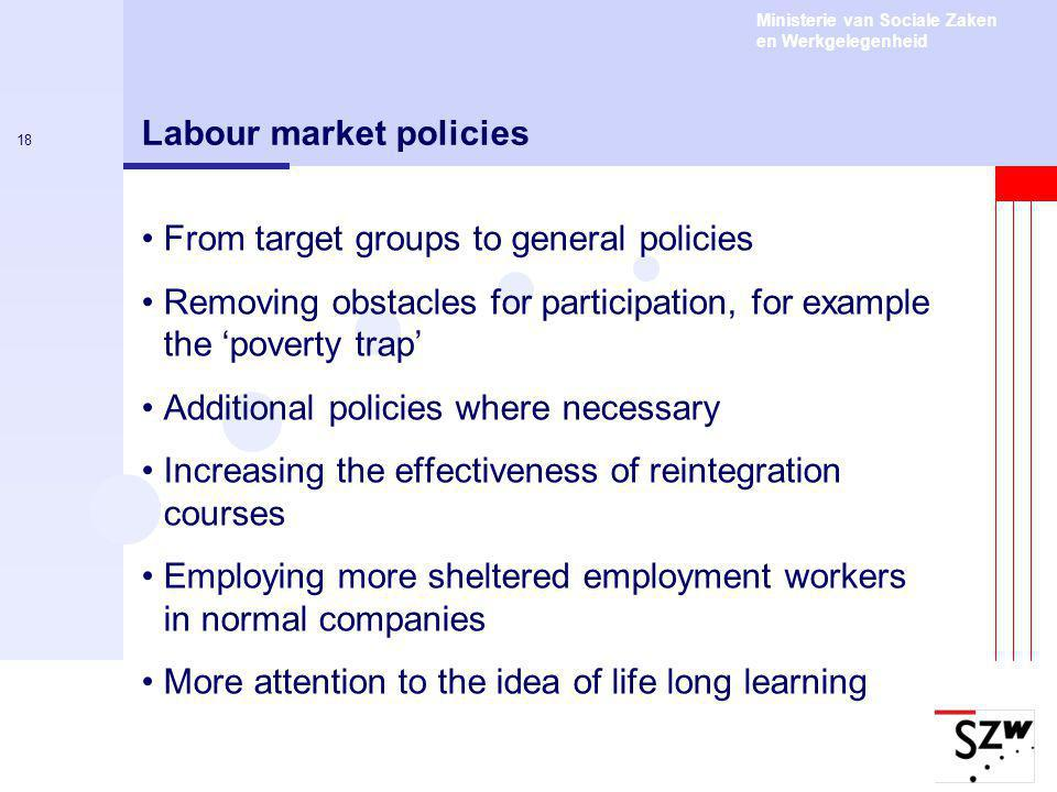 Ministerie van Sociale Zaken en Werkgelegenheid 18 Labour market policies From target groups to general policies Removing obstacles for participation, for example the 'poverty trap' Additional policies where necessary Increasing the effectiveness of reintegration courses Employing more sheltered employment workers in normal companies More attention to the idea of life long learning