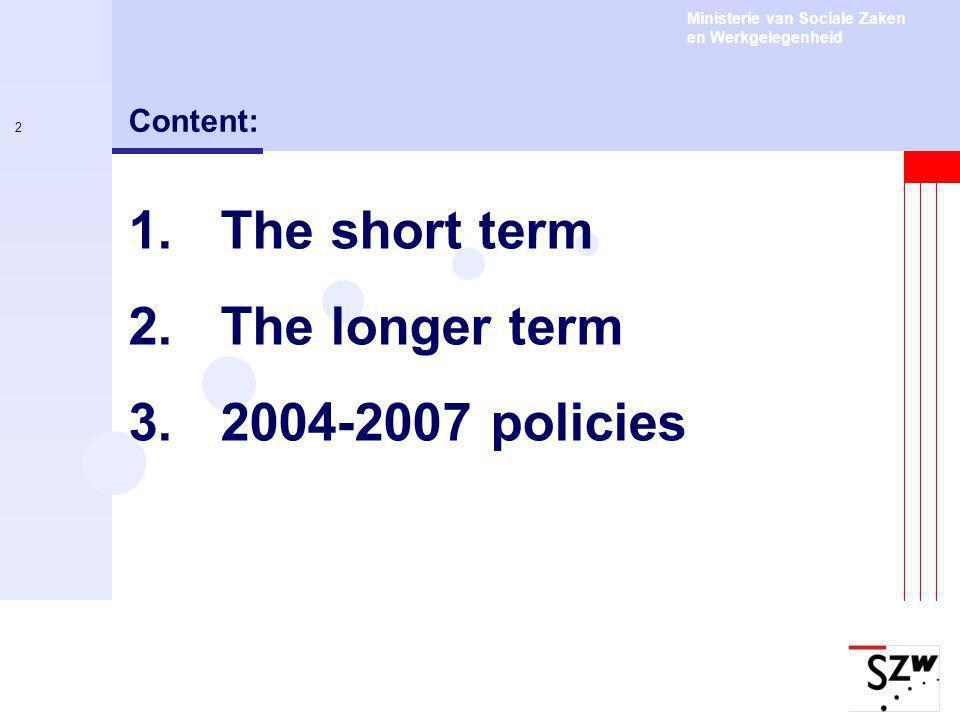 Ministerie van Sociale Zaken en Werkgelegenheid 2 Content: 1.