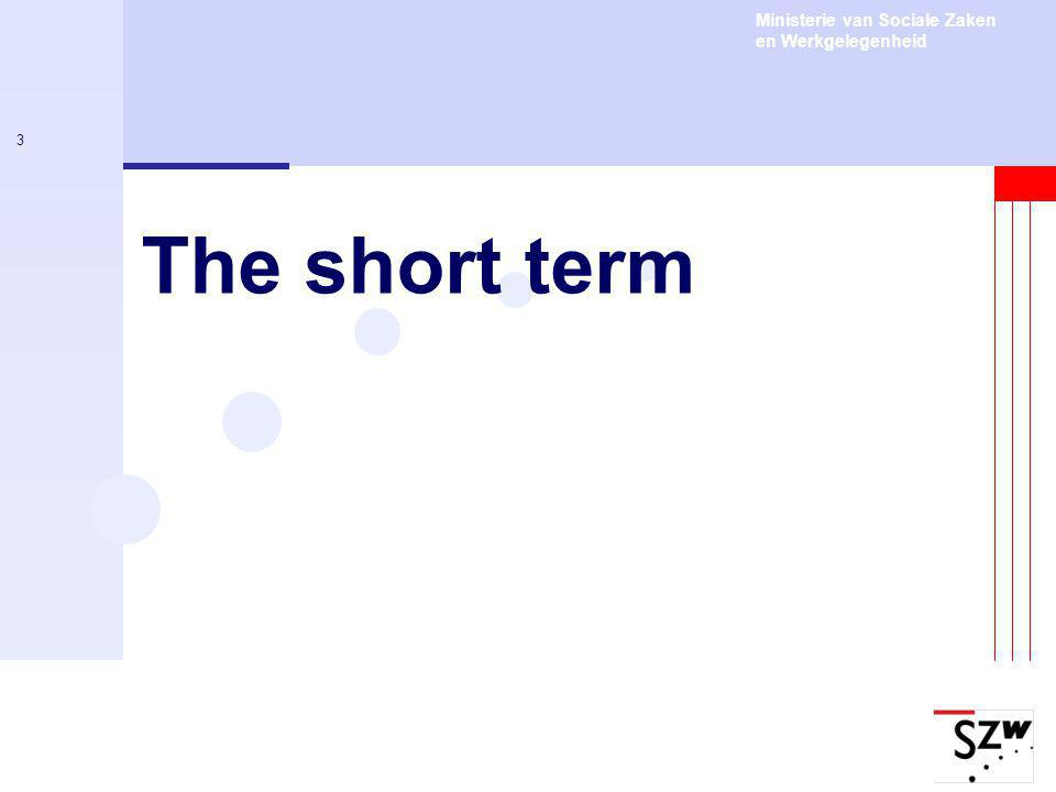 Ministerie van Sociale Zaken en Werkgelegenheid 3 The short term