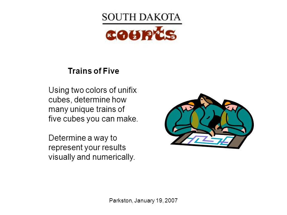 Parkston, January 19, 2007 Trains of Five Using two colors of unifix cubes, determine how many unique trains of five cubes you can make. Determine a w