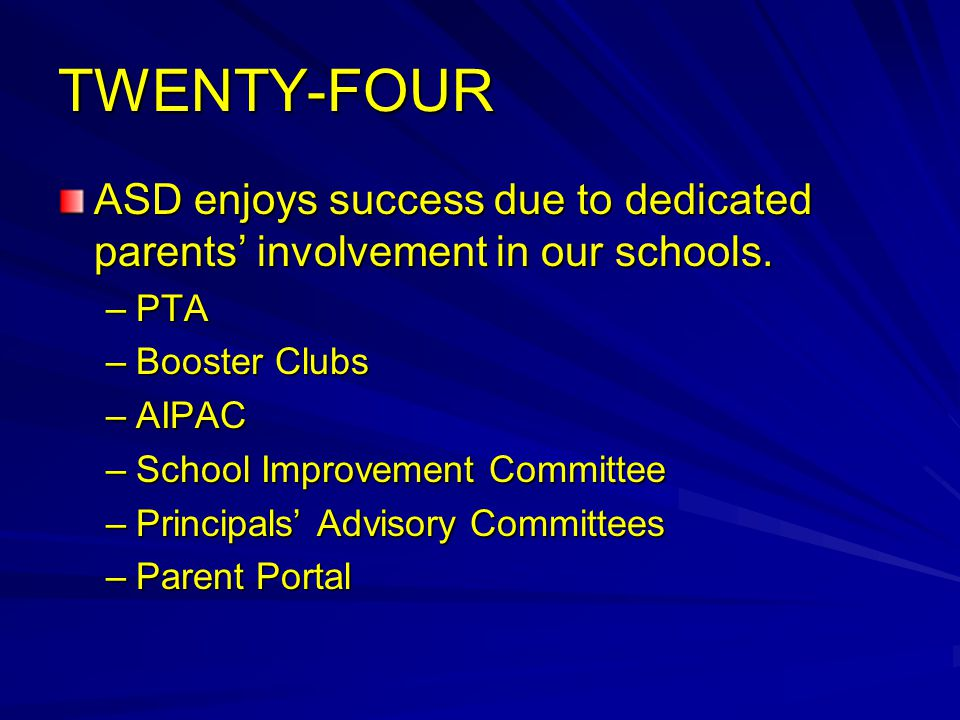 TWENTY-FOUR ASD enjoys success due to dedicated parents' involvement in our schools.