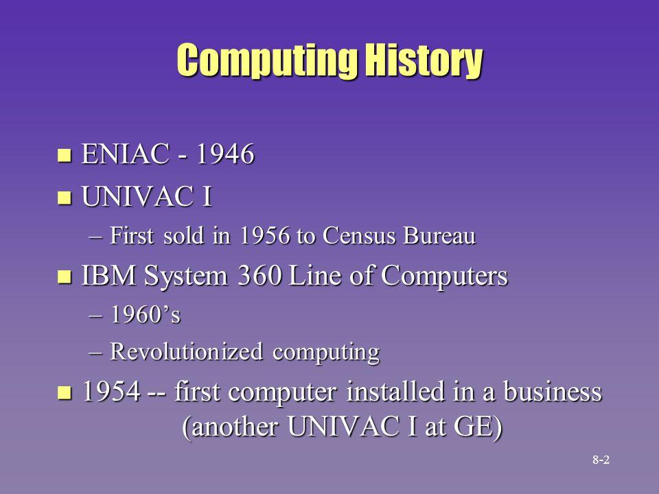 Computing History n Early 1970s -- minicomputers n Late 1970s -- microcomputers (TRS-80, Commodore PET) n IBM PC –1982 8-3
