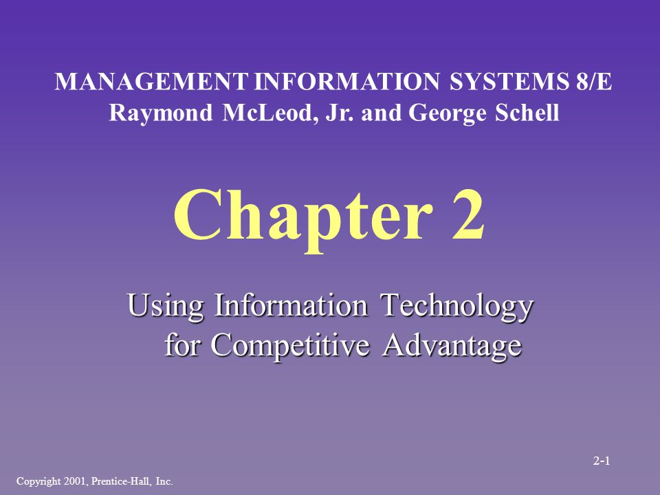 Chapter 2 Using Information Technology for Competitive Advantage Copyright 2001, Prentice-Hall, Inc.