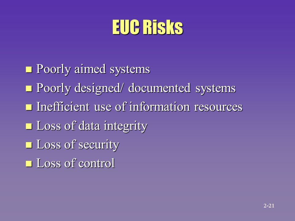 EUC Risks n Poorly aimed systems n Poorly designed/ documented systems n Inefficient use of information resources n Loss of data integrity n Loss of security n Loss of control 2-21