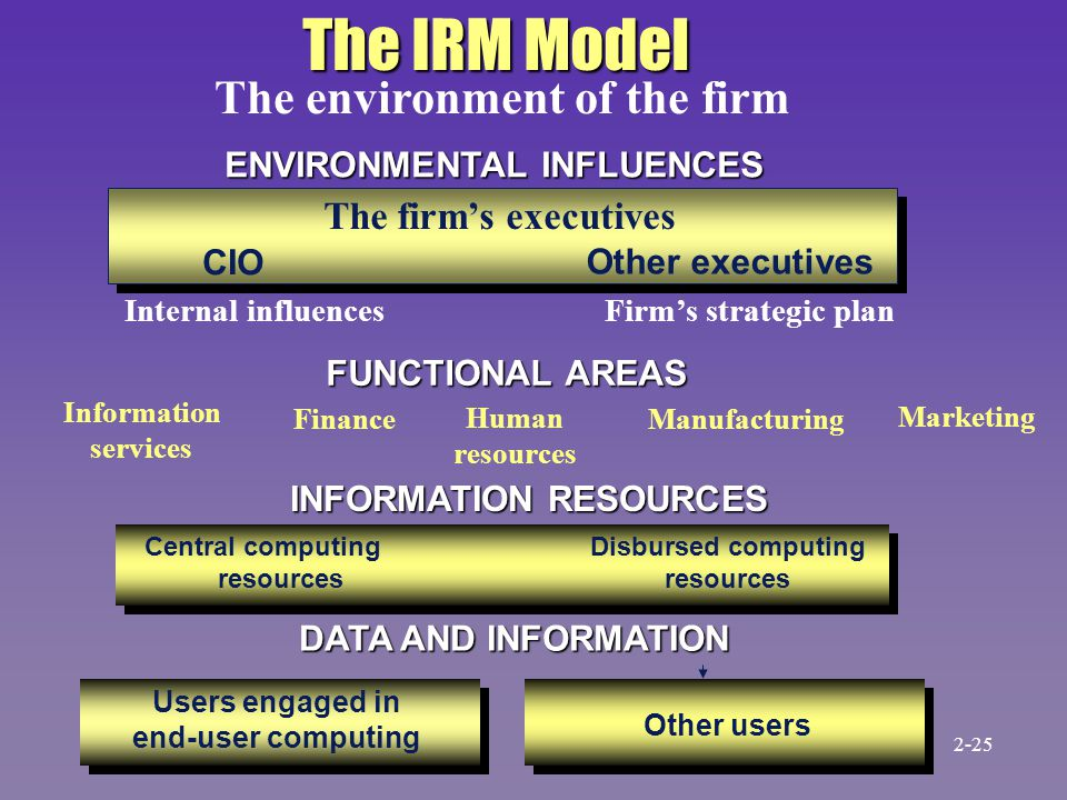 The firm's executives CIO Other executives Central computing resources Disbursed computing resources FUNCTIONAL AREAS Users engaged in end-user computing Other users ENVIRONMENTAL INFLUENCES Internal influencesFirm's strategic plan INFORMATION RESOURCES DATA AND INFORMATION The IRM Model Information services Human resources Manufacturing Marketing Finance The environment of the firm 2-25