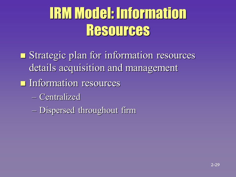 IRM Model: Information Resources n Strategic plan for information resources details acquisition and management n Information resources –Centralized –Dispersed throughout firm 2-29