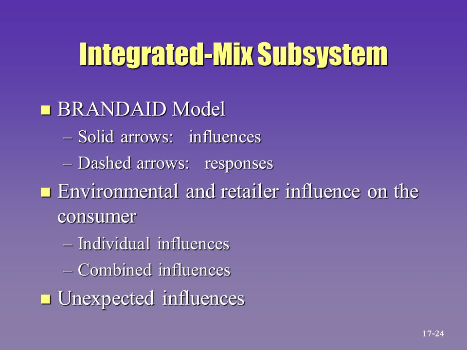 Integrated-Mix Subsystem n BRANDAID Model –Solid arrows: influences –Dashed arrows: responses n Environmental and retailer influence on the consumer –