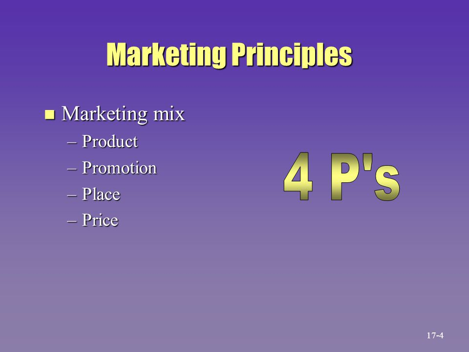 Marketing Principles n Marketing mix –Product –Promotion –Place –Price 17-4