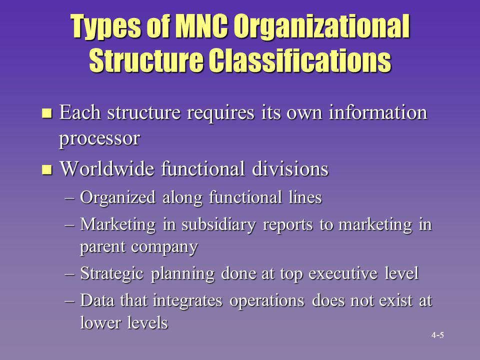 MNC Classifications (cont.) n International regions –International division separate from domestic division n Geographic regions –Each region responsible for its subsidiaries –No communication between regions –Communication coordinated by parent company 4-6