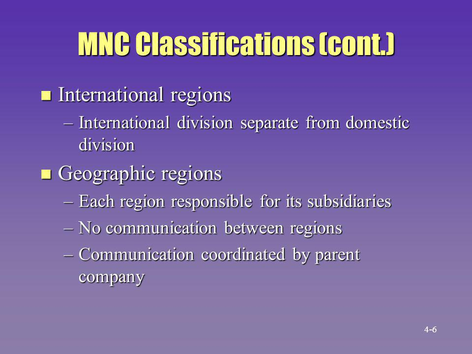 MNC Classifications (cont.) n Worldwide product divisions –Product division responsible for operations worldwide –Helps recognize product specific needs 4-7