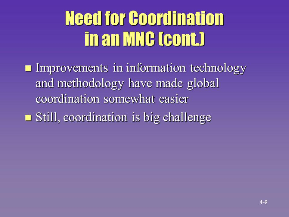 Advantages of Coordination in an MNC n Flexibility in responding to competitors n Ability to respond in one country to a change in another n Ability to keep abreast of market needs around the world n Ability to transfer knowledge between units in different countries 4-10