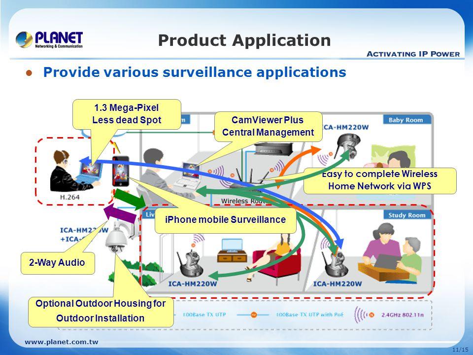 www.planet.com.tw 11/15 Product Application Provide various surveillance applications 1.3 Mega-Pixel Less dead Spot CamViewer Plus Central Management