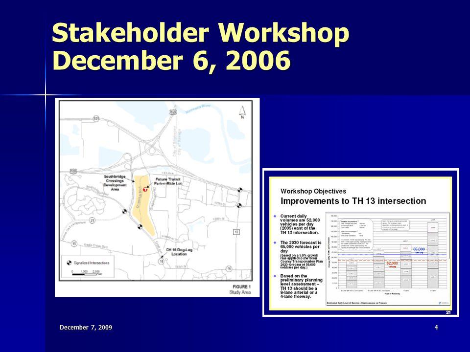 Stakeholder Workshop December 6, 2006 December 7, 20094