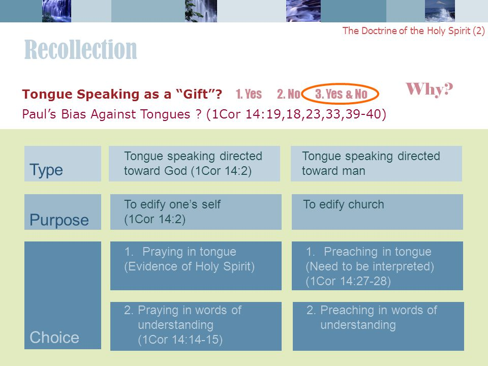 Recollection The Doctrine of the Holy Spirit (2) Tongue speaking directed toward God (1Cor 14:2) Tongue speaking directed toward man To edify one's self (1Cor 14:2) To edify church 1.Praying in tongue (Evidence of Holy Spirit) 2.