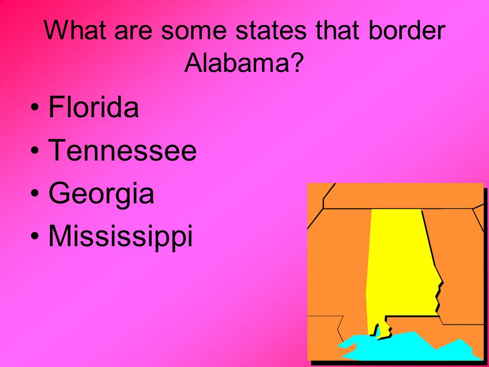 What are some states that border Alabama Florida Tennessee Georgia Mississippi