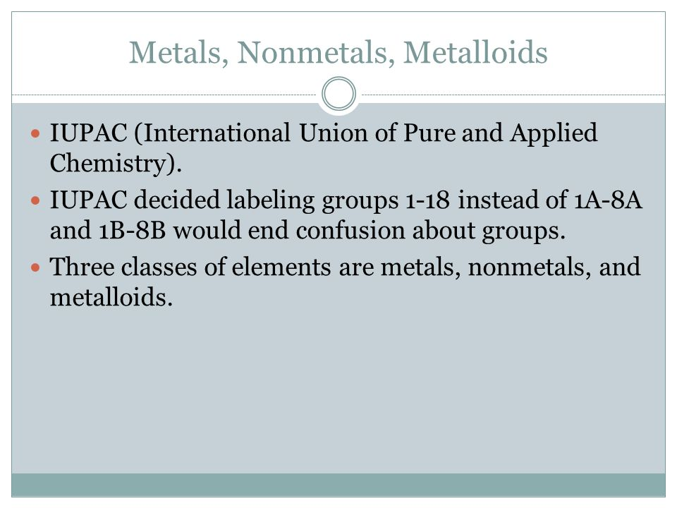 Metals, Nonmetals, Metalloids IUPAC (International Union of Pure and Applied Chemistry). IUPAC decided labeling groups 1-18 instead of 1A-8A and 1B-8B