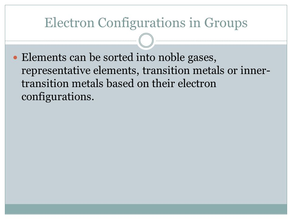 Electron Configurations in Groups Elements can be sorted into noble gases, representative elements, transition metals or inner- transition metals base
