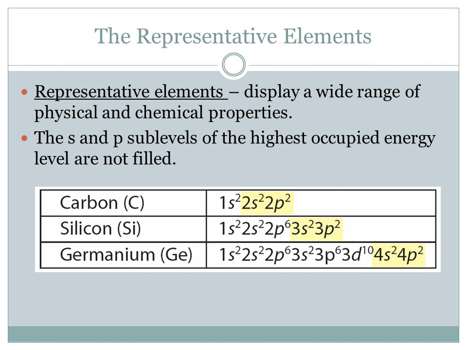 The Representative Elements Representative elements – display a wide range of physical and chemical properties.