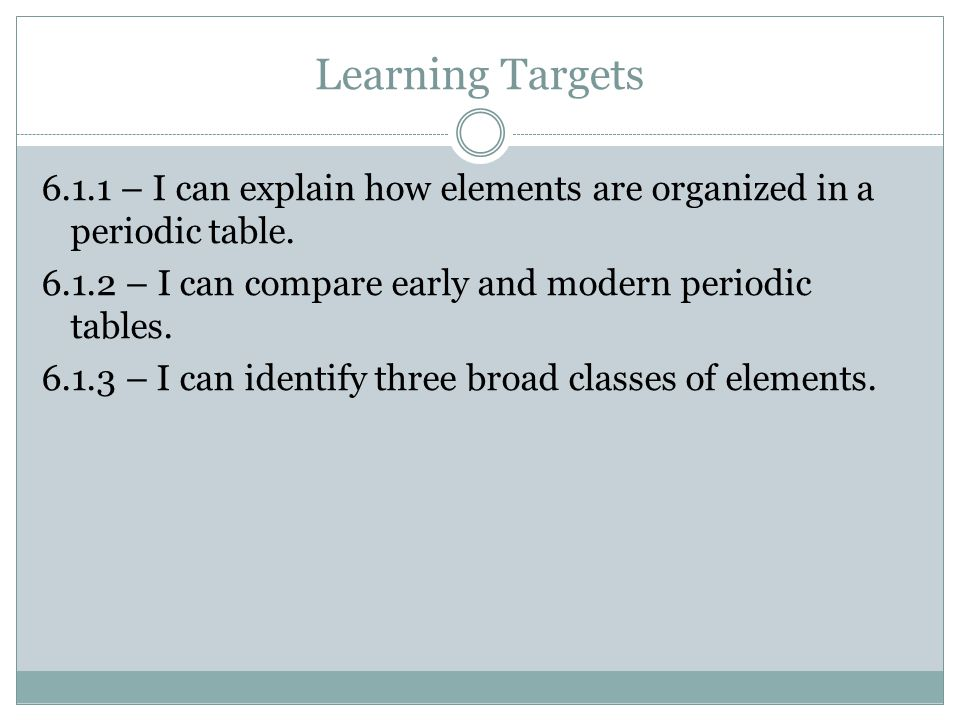 Learning Targets 6.1.1 – I can explain how elements are organized in a periodic table. 6.1.2 – I can compare early and modern periodic tables. 6.1.3 –