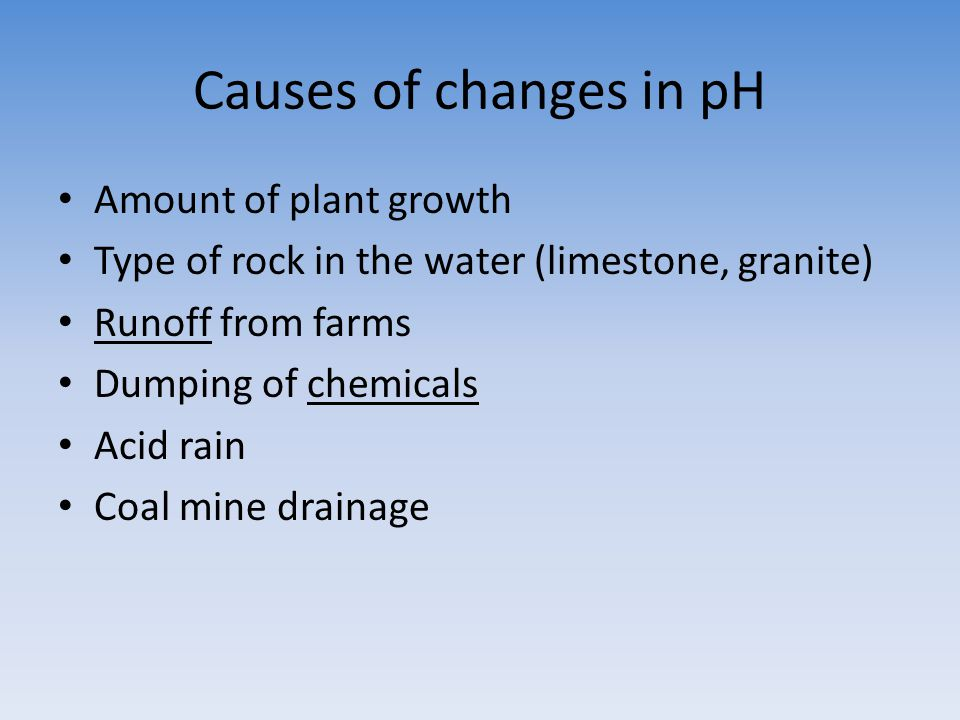 Causes of changes in pH Amount of plant growth Type of rock in the water (limestone, granite) Runoff from farms Dumping of chemicals Acid rain Coal mi