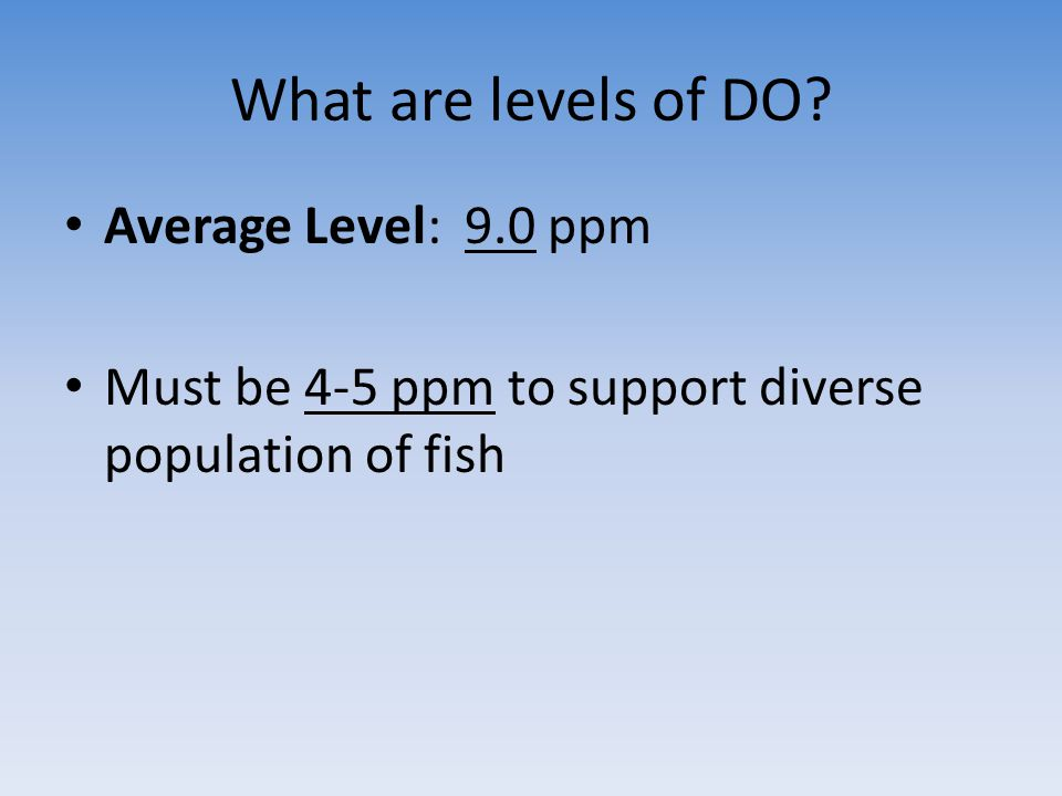 What are levels of DO? Average Level: 9.0 ppm Must be 4-5 ppm to support diverse population of fish